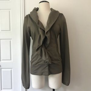 Mike & Chris Cotton Ruffle Front Sweater Jacket